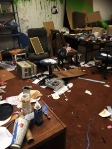 Photo Courtesy/CID Weekend vandals defecated on the carpet, threw food on the walls and stole tools. A clean-up day is scheduled this Sunday at 9 a.m., 2700 Little Mountain Drive.