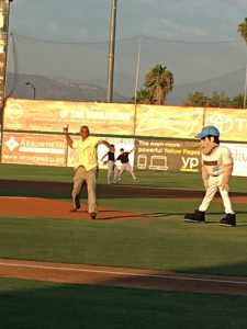 Photo courtesy/Volunteers of America Gerald McFadden, Volunteers of America Southwest CEO and President, threw the opening pitch during the 66ers game on Wednesday, Aug. 3 to celebrate the grand opening of VOA Southwest Early Head Start and Ballington Academy.