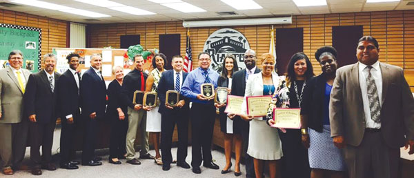 courtesy photo/rusd   Principals from five RUSD schools — Rialto and Carter high schools, Jehue and Kucera middle schools, and Kelley Elementary School — were recognized during the Aug. 24 Board Meeting after each school was awarded state PBIS Bronze level status.