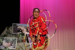 Photo/Anthony Victoria: Native American Hoop Dancer Terry Goedel performing in front of a crowd during SBCUSD's Indian New School Year Gathering at San Gorgonio High School on September 22.