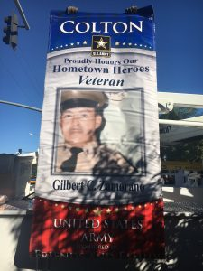 Photo/Anthony Victoria: Gilbert Zamorano's military banner.