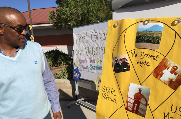 iecn photo/ yazmin alvarez Students at Werner Elementary School in Rialto surprised Ernest Hyde, the school's custodian during a special assembly Nov. 10 in honor of Veterans Day.