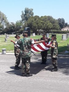 SanBernardinoValley Young Marines participating in the Folding of the American Flag Ceremony.